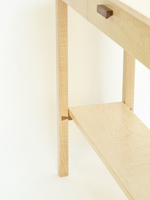 unique hand-cut dovetails are an important component for this finely crafted piece of modern wood furniture