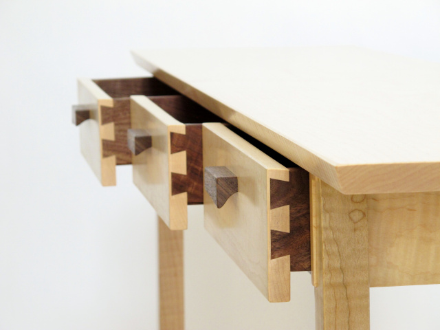 Handmade Three Drawer Entry Console Table- hand-cut dovetail drawers, solid wood furniture
