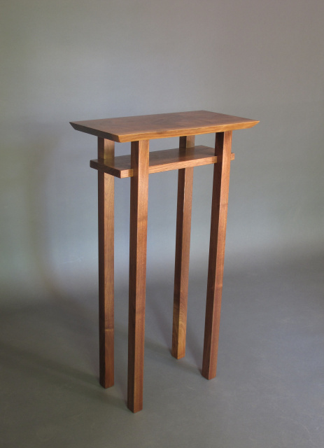 Live edge walnut entry table tall narrow accent table or for Tall slim side table