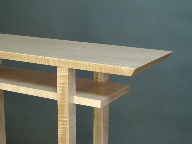 narrow wood table handmade in the USA pictured here in tiger maple