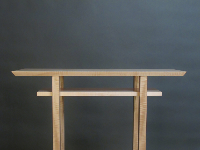 Modern, Narrow Wood Table With Shelf For An Elegant Altar Table, Narrow  Console Table