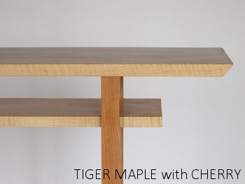 narrow console table with inset shelf in tiger maple