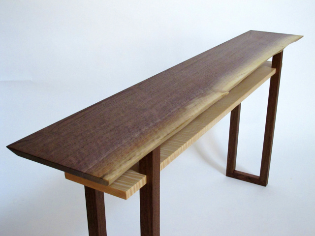 live edge walnut console table a live edge wood slab makes this table top uniquely - Narrow Sofa Table