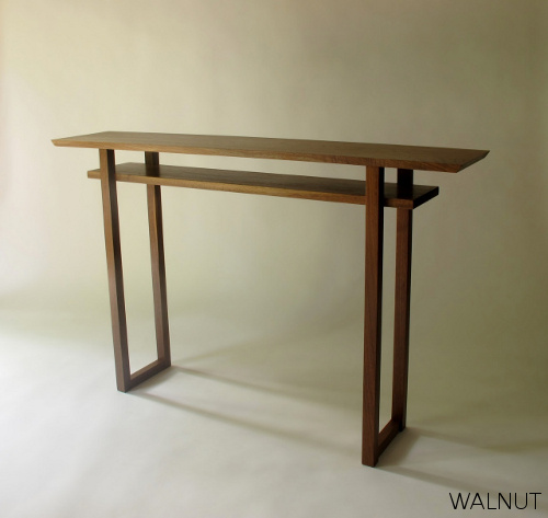 A modern narrow console table or narrow sofa table with for Skinny console table