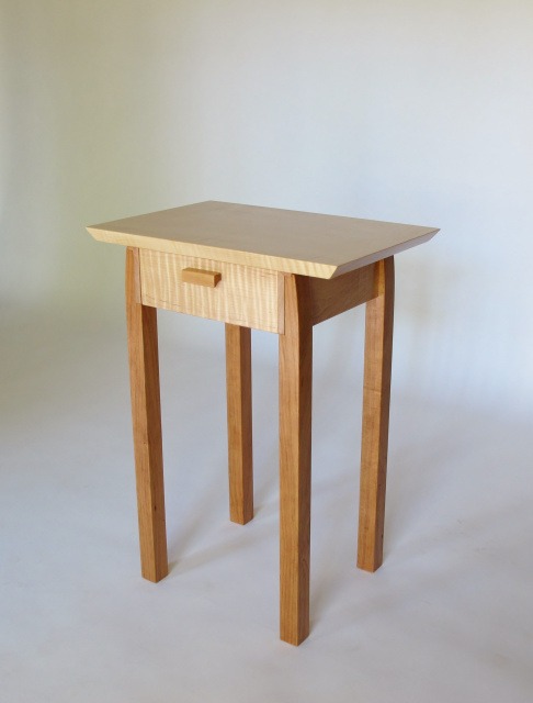 Small Narrow End Table With Drawer, Maple And Cherry  Small Accent Tables  With Storage