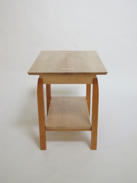 Side Table With Shelf Made From Tiger Maple And Cherry Wood Small Coffee  Table Side Table
