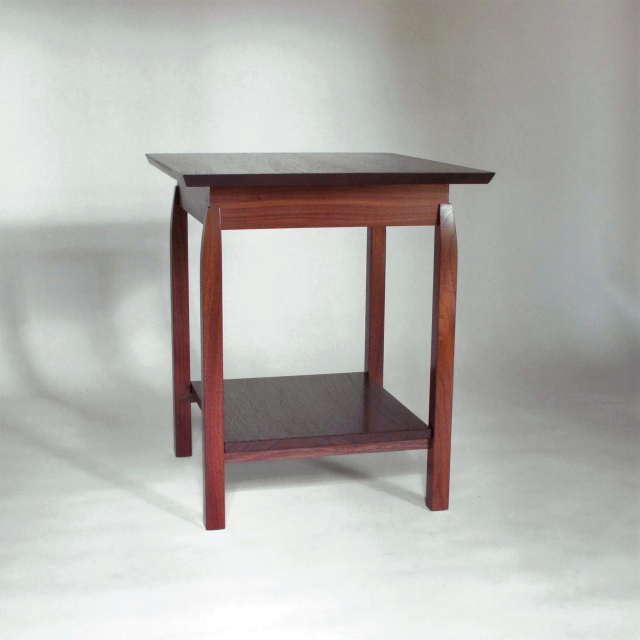 an almost square side table with shelf or large end table to share