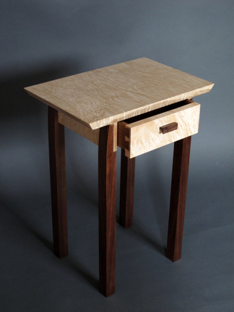 Modern Wood End Table With Drawer Storage Hand Crafted In