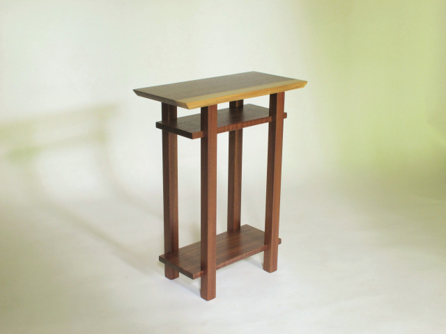 Live Edge Walnut End Table With Two Shelves- Handmade Wood