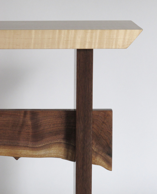 These modern hall console tables by Mokuzai Furniture are available with a live edge table stretcher.  Live Edge wood is an artistic way to create a unique table, connecting nature and your interior design.