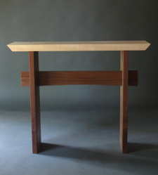 A modern wood entry table, narrow hall table or artisitc side tables.  A solid wood accent table, handmade custom furniture by Mokuzai Furniture