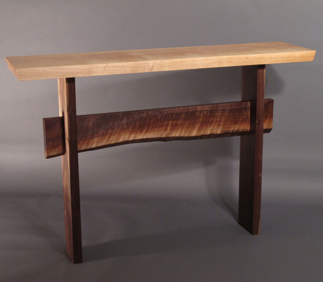 Statement Console Table- a narrow table for your buffet table, vanity table, console table or narrow hall table- Handmade wood furniture by Mokuzai Furniture