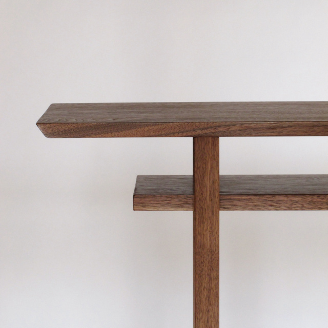 A narrow console table with inset shelf- Classic Walnut Console by Mokuzai Furniture, entry table, hall table, vanity table