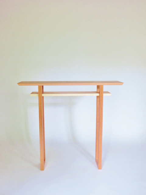 Minimalist hall table- solid wood furniture in cherry with tiger maple
