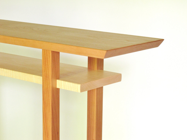 Narrow hall table in solid cherry with a maple shelf- handmade wood furniture by Mokuzai Furniture- minimalist modern