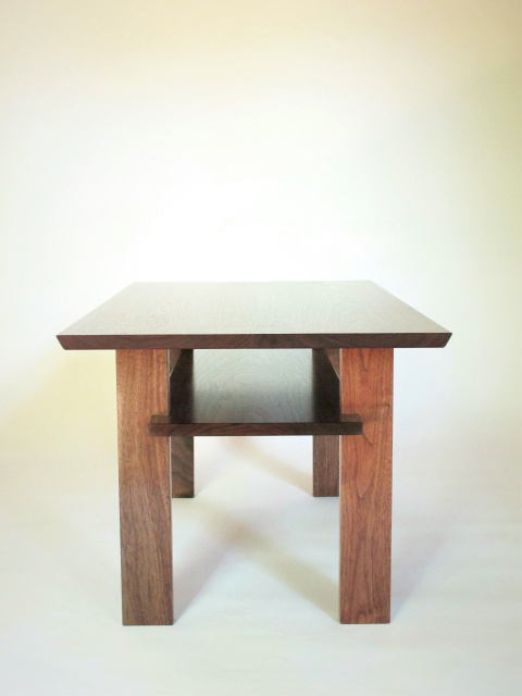 A solid wood coffee table made for small spaces this for Narrow wood coffee table
