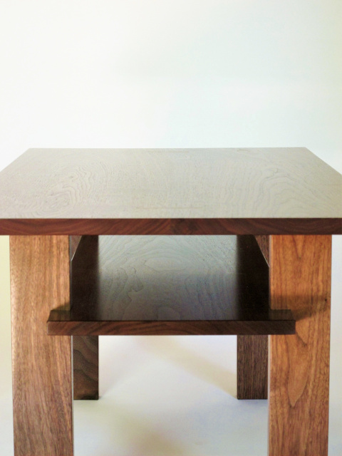 Our narrow coffee table features beautiful handmade details like the carefully hand-cut joinery of the inset shelf