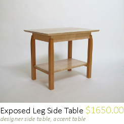 Elegant Side Table: Handmade Wood Furniture, Modern Side Table With Shelf,  Small Coffee