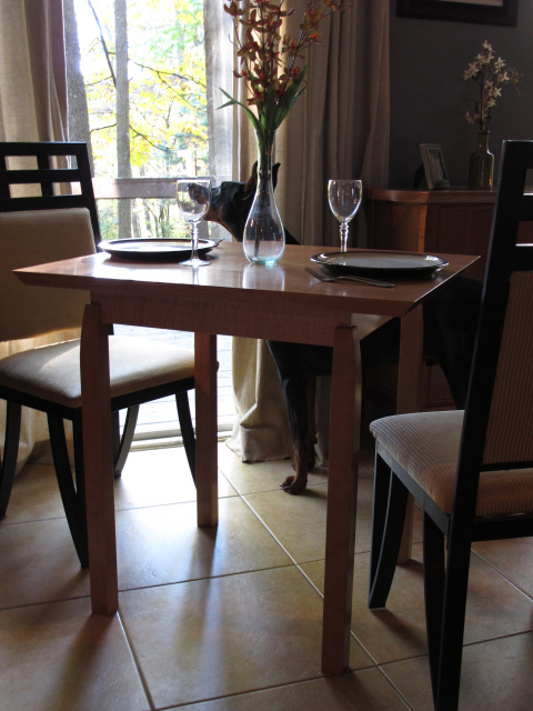 Modern Breakfast Table Or Small Wood Dining Table For Two, In Cherry And  Tiger Maple
