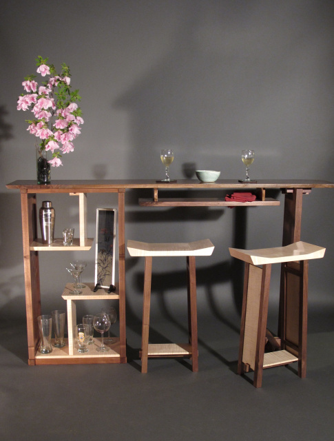 Modern Minimalist Solid Wood Bar With Open Shelving Display Cabinet In Walnut And Tiger Maple