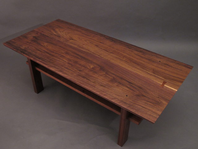 Walnut coffee table. Artistic wood table for modern living - Artistic Solid Wood Coffee Table With Inset Shelf, A Walnut Coffee