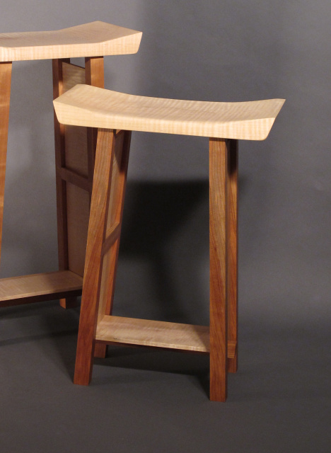counter height bar stool with shaped seat artisit wood furniture modern wood stool & Modern Zen Counter Height Bar Stool in Walnut or Cherry with ... islam-shia.org