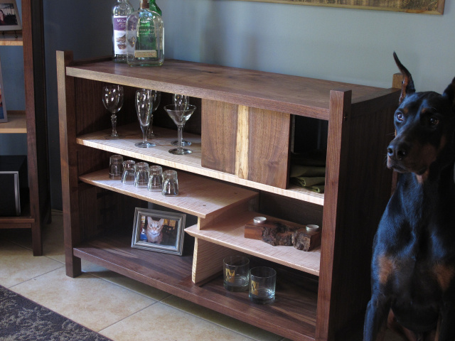 mid century modern sideboard bar cabinet in walnut and tiger maple, solid wood furniture, walnut bar with display shelving