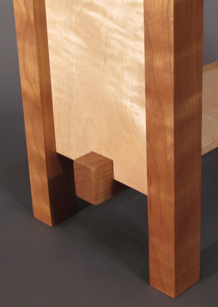modern bar stool in tiger maple and cherry handmade custom furniture with interesting joinery detail