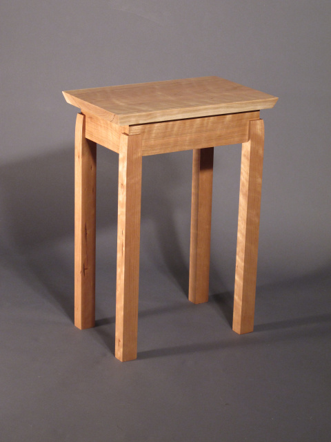 A pair of small narrow end tables solid wood furniture for Small wooden side table