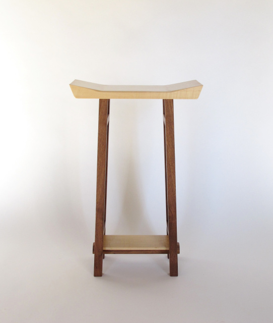 modern zen bar stool with shaped seat in walnut and tiger maple, artistic  solid wood