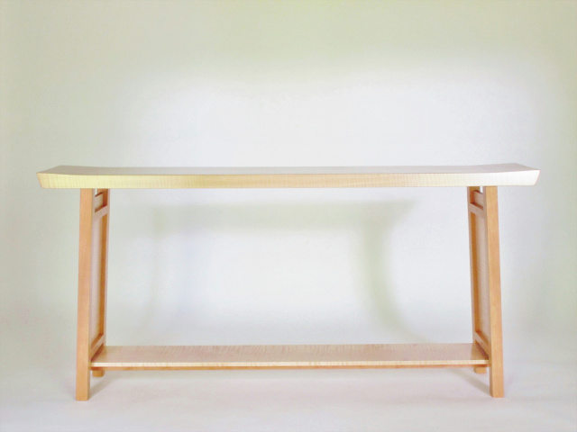 A long narrow console table for a hall table or sofa table- handmade solid wood furniture with fine craftsmanship detail/ modern wood furniture