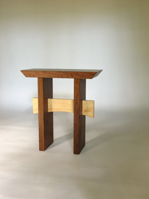 Walnut and maple small wooden seat or entry bench handmade and solid wood