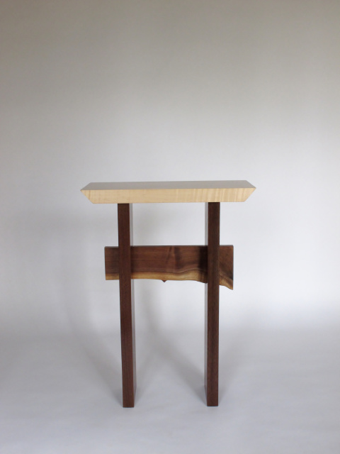 A Minimalist Wood Table In Tiger Maple And Walnut With A Live Edge Table  Stretcher