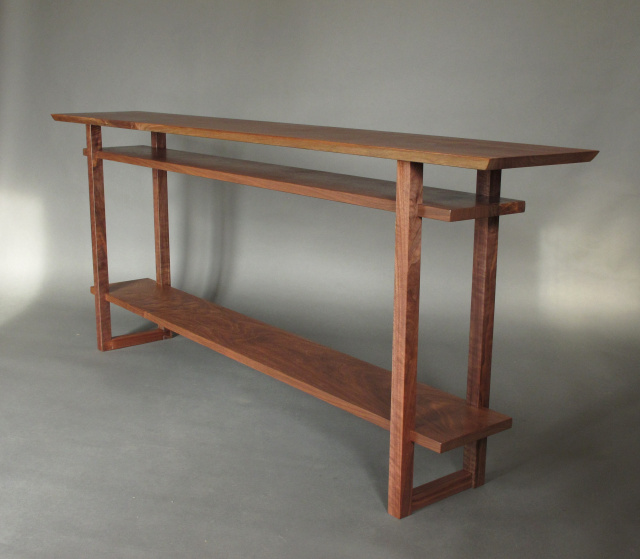 A long narrow console table with 2 shelves handmade for Long narrow console