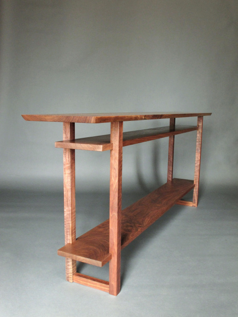 A long narrow console table with 2 shelves handmade  : solid walnut wood table from www.mokuzaifurniture.com size 480 x 640 jpeg 109kB