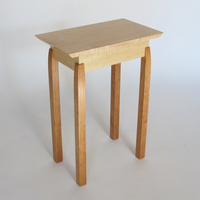 Small Narrow End Table: Maple and Cherry, solid wood accent table, accent tables for small spaces, narrow small table- Modern Wood Furniture, handmade in the USA