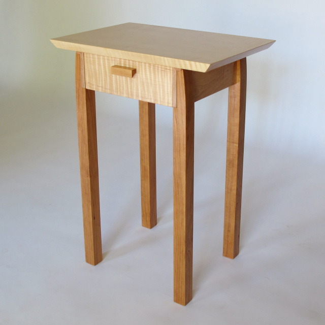 small narrow table with drawer- a narrow bedside table, small accent tables with storage, narrow end table- Solid wood furniture Handmade in the USA