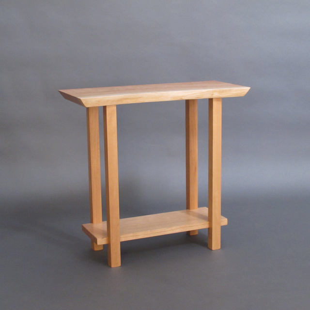 Live Edge Narrow Table with Low Shelf: pictured in cherry, small entry table, narrow side table, narrow accent table- handmade modern wood furniture