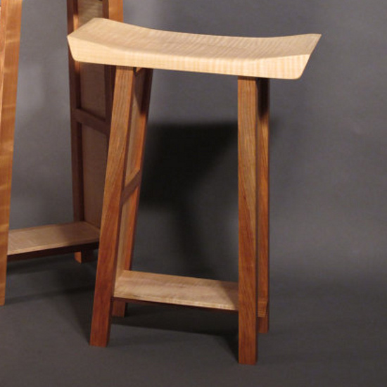counter height bar stool, solid wood bar stool, artistic wood furniture, saddle seat, saddle stool