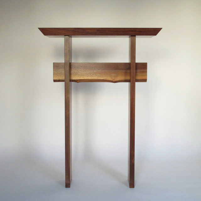 Tall Narrow Walnut Console Table with Live Edge- table for hallways, wood entry table, side table- Handmade wood furniture by Mokuzai Furniture