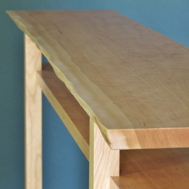 A narrow console table with live edge table top- created in solid Cherry this narrow wood table is perfect for your vanity table, narrow hall table or wood entry table/