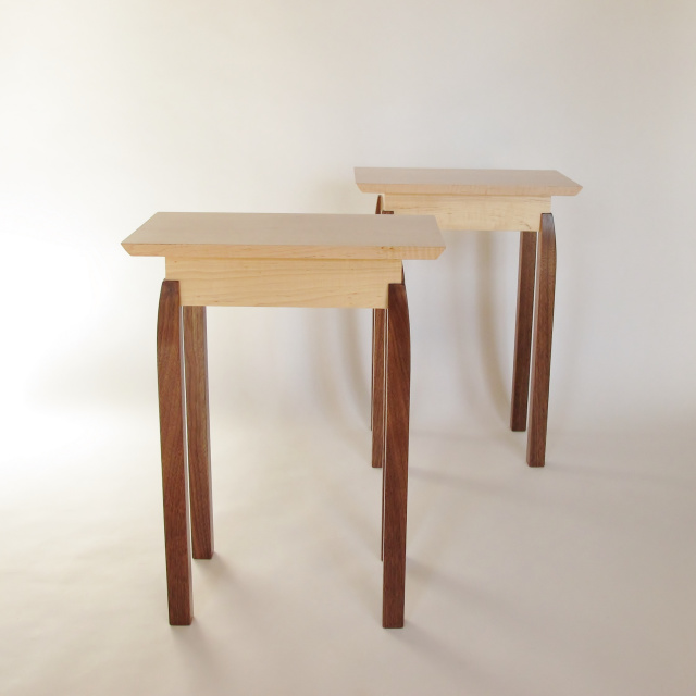 Pair of small narrow end tables: Maple, Walnut- solid wood accent tables for small spaces, narrow side table- modern wood furniture, handmade in the USA
