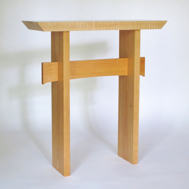 modern wood table- a narrow side table, entry console table, narrow hall table- solid wood furniture handmade in the USA