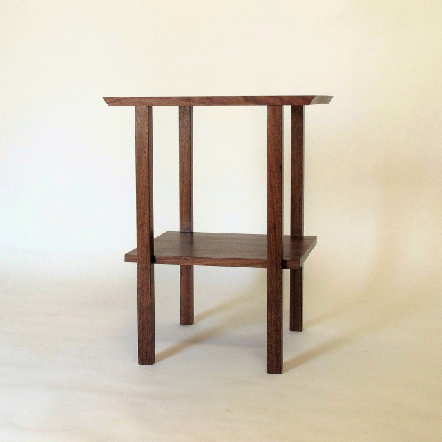 Solid wood end table with shelf, handmade walnut table, small side table, nightstand with shelf
