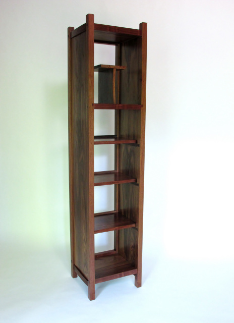 Tall Narrow bookcase, walnut furniture- entertainment tower and display case- mid century modern bookshelves