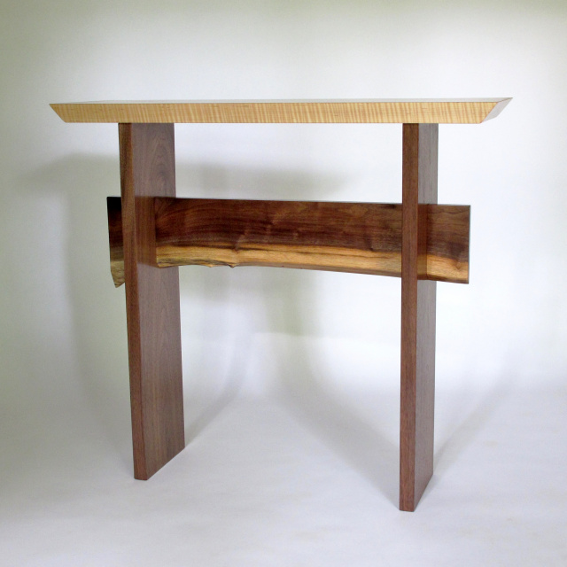 Live Edge Foyer Table : Statement hall table with live edge stretcher