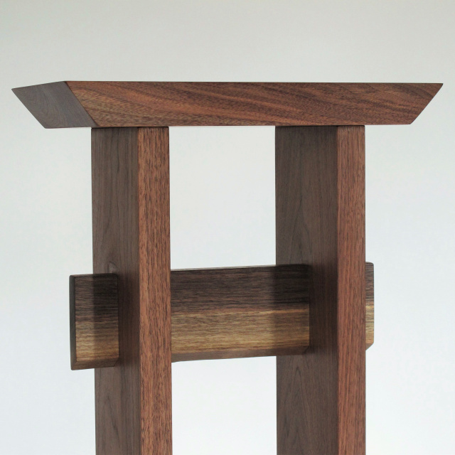 Solid walnut wood entry table- Japanese furniture style with minimalist design lines and live edge detail