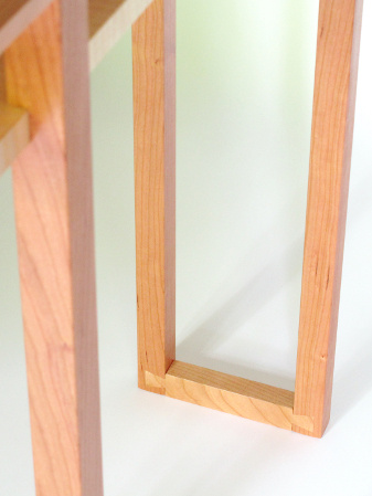 Hand-cut dovetail feet on our Classic Vanity Console Table - a narrow console table for bedroom furniture