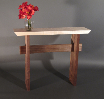 A narrow console table for hallways- modern wood furniture by Mokuzai Furniture- Statement Hall Table