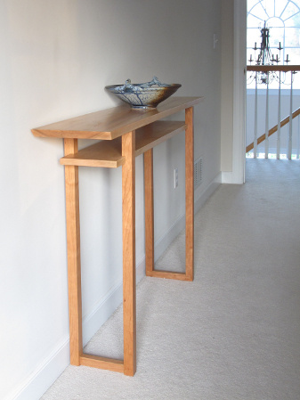A narrow vanity table for modern minimalist bedroom decor - handmade solid wood furniture for the bedroom side table or console table